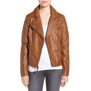 Jessica Simpson vegan leather biker jacket quilted